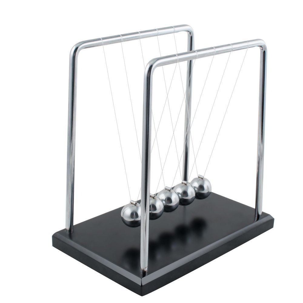 Zinnor Newton's Cradle,Newton's Cradle Balance Balls Metal Balance Ball Black Wooden Base Accompany Your Child's Grown-Up | Decoration Living Room Drawing Room Office (USA Shipping)