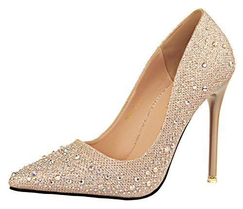 PerfectAZ Fashion Sweet And Delicate Elegant Fine Heels Shallow Mouth Was Thin Pointed Diamond Drill Shoes £¨5 B£¨M)US£¬Gold£