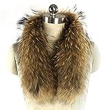 SPRINGWIND Women's Natural Raccoon Fur Detachable Collar Scarf for Winter Coat