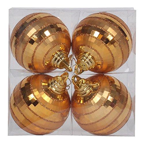 Vickerman M151416 Plastic Shiny Matte Mirror Ball with Matching Glitter in 4/Box, 4