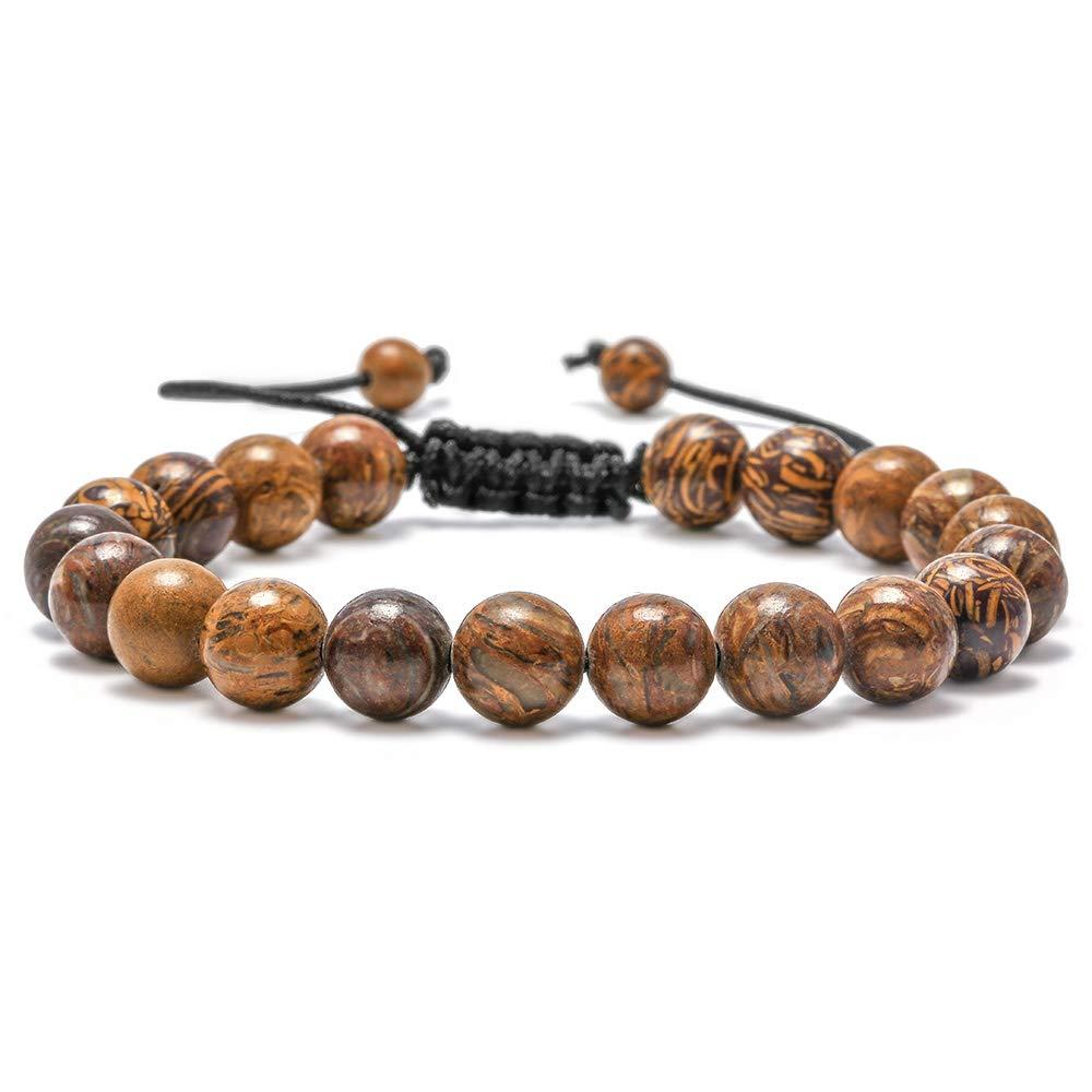 M MOOHAM Gemstone Bead Bracelets, 8mm Natural Stone Beads Bracelet, Men Women Stress Relief Yoga Beads Adjustable Semi-Precious Gemstone Bracelet Bangle