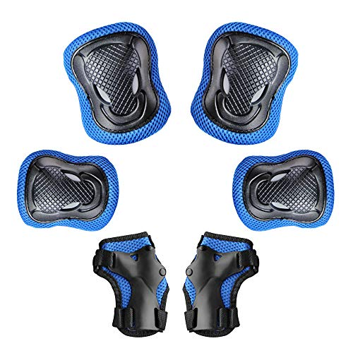 Kids Protective Gear Set Kids Youth Knee Pads Elbow Pads with Wrist Guards for Rollerblade Skateboarding Inline Roller Skating Cycling Biking BMX Scooter Outdoor Sports Pads 3-13 Years Old