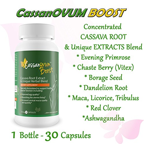 CassanOvum Boost, Fertility Supplement for egg quality and quantity, healthy uterine lining and increasesd cervical mucus, contains Cassava Root Extract and Unique Herbal Blend (Evening Primrose, Maca Root, Chaste Berry, Borage, Dandelion Root, Licorice Root, Tribulus Root, Red Clover and Ashwaganda - 30 Capsules - Herbal Extract Blend
