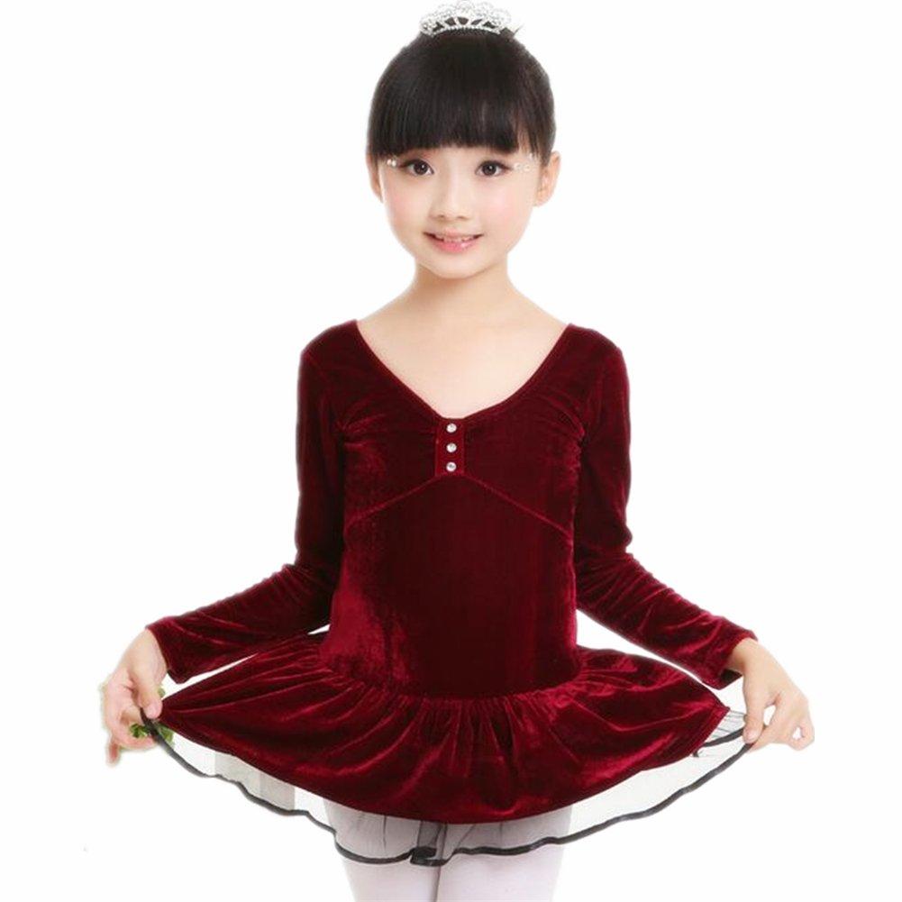 ZYZF Girl Kid Leotard Velvet Gymnastic Ruffled Dancewear Ballet Unitards Lace Dress 20161012118