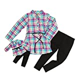 dollie me clothing - Dollie and Me Girls Plaid Flannel Tunic With Knit Leggings (6)