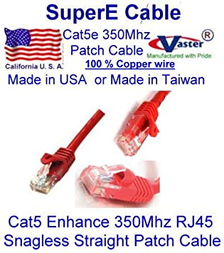 RED UL 24Awg Pure Copper SuperEcable -20677-25 Ft UTP Cat5e Ethernet Network Patch Cable