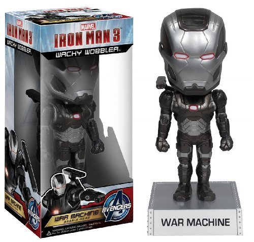 "War Machine ~6.5"" Bobble Head Figure: 'Iron Man 3' Wacky Wobbler Series"