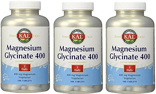 Magnesium Glycinate 400mg Kal 180 Tabs (Pack of 3)
