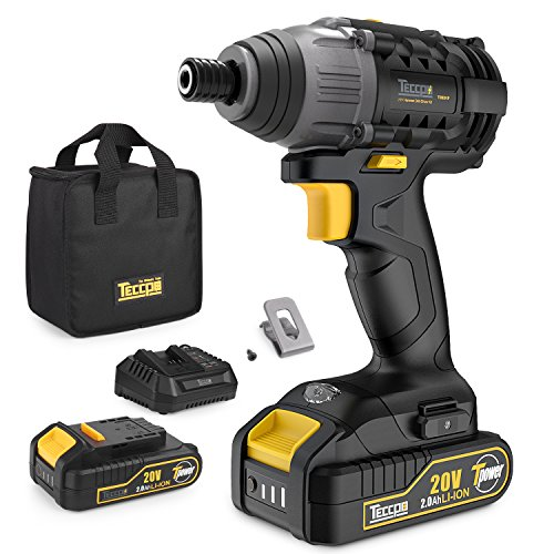 Impact Driver, 20-Volt, 2pcs 2.0Ah Lithium Ion Batteries, 1/4″ Hex Chuck Cordless Impact Driver, 30 Minutes Fast Charger, 1600In-lbs Max Torque, 2900RPM Max Speed-TECCPO TDID01P