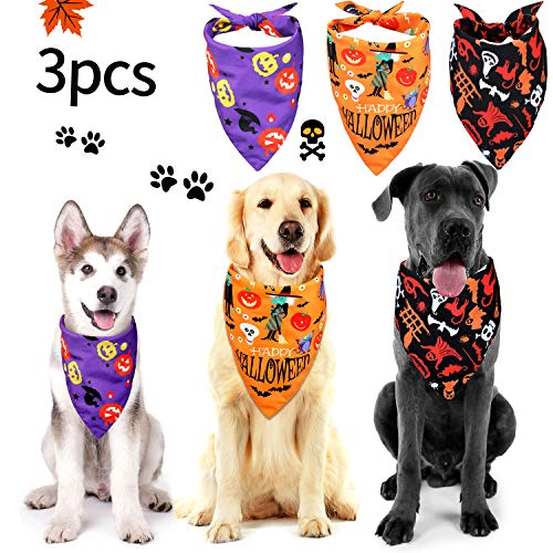 Skeleton Bandana Halloween (Frienda 3 Pieces Halloween Dog Bandanas Pet Bandana Pumpkin Pet Scarf Neckerchief Washable Dog Bibs for Dog and Cat, Orange, Purple and Black (Style Set 2)