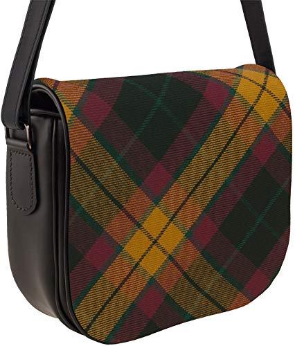 Leather Handbag Shoulder Bag with MacMillan Tartan with Inside and Back Pocket