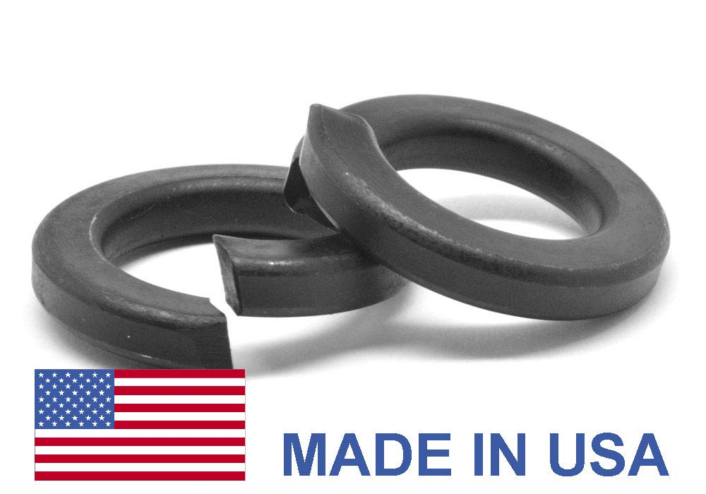 3/8'' Grade 8 Regular Split Lockwasher - USA Alloy Steel Black Oxide Pk 100 by ASMC Industrial