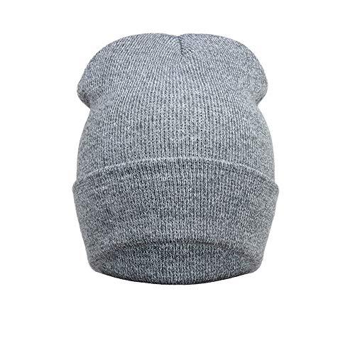 NEEKEY Unisex Outdoors Winter Warm Knit Crochet Ski Hat Braided Headdress Cap GY(Free Size,Gray) ()