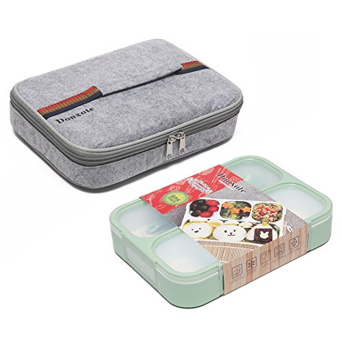 Bento Box Case - Donxote Bento Boxes Set - 4 Compartments Leakproof Sealing Bento Box 1000ml - BPA-Free Microwave and Dishwasher Safe - with Spoon & Lunch Bag (Green)