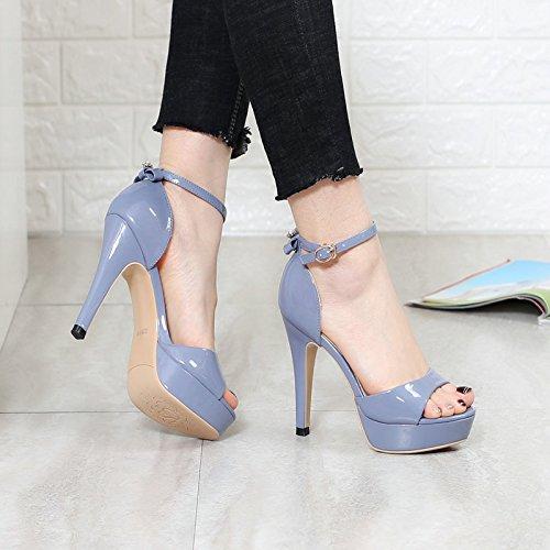 KHSKX-El Verano De Estilete Sandalias De Tacon Con Hebilla De Zapatos De Cuero Lazo De Palabra Simple Zapatos Impermeables blue