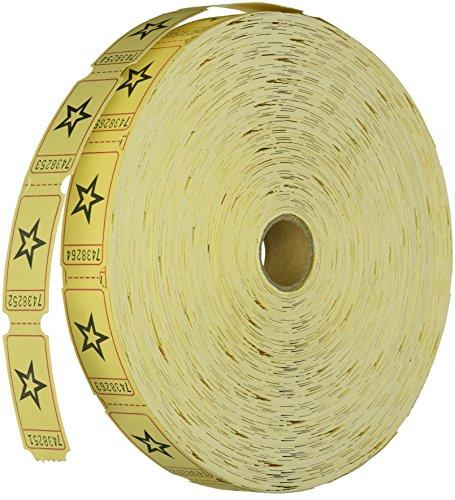 1 X Yellow Star Single Roll Tickets (2000 tickets) - Bulk