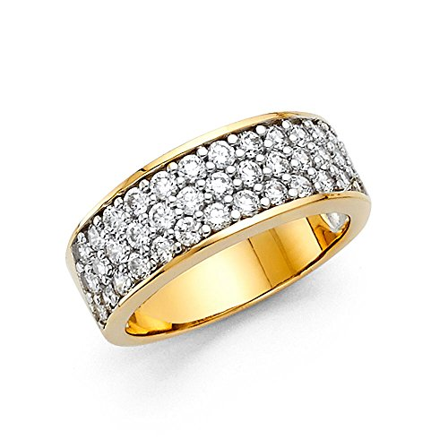 FB Jewels 14K Yellow Gold Ring Round Cubic Zirconia CZ Anniversary Wedding Band Size 9.5