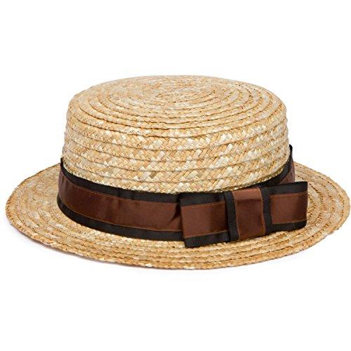 [Men's Boater Hat with Dark Brown Grosgrain Ribbon] (Sailor Straw Hat)