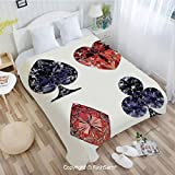 PUTIEN Unique Rectangular Flannel Blanket Diamond Shaped Cards Poker Face Fortune Symbols Sapphire Dijital Prints Blanket for Home(49Wx59L)