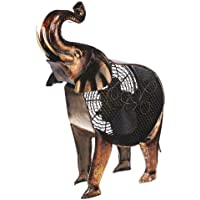 DecoBREEZE Table Fan Two-Speed Electric Circulating Fan, African Elephant Figurine Fan