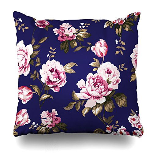 Pakaku Decorativepillows Case Throw Pillows Covers for Couch/Bed 20 x 20 inch,Shabby Chic Vintage Roses Tulips get-Me-Nots Classic Chintz Floral Repeat Home Sofa Cushion Cover Pillowcase Gift