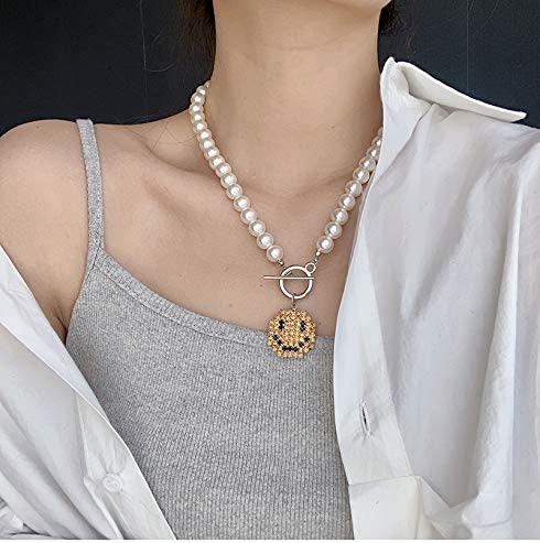 Pearl Pendant Necklace for Women,Y2k Fashion Pearls Strand for Egirl Eboy,Dainty Cute Slimey Necklace Jewelry for Women Girls