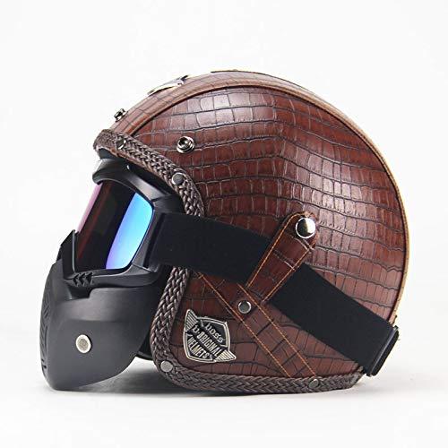 Ocamo PU Leather Helmets 3/4 Motorcycle Bike Helmet Open Face Vintage Motorcycle Helmet with Goggle Mask brown M