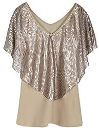 Women's Short Sleeve Sequin Drape Blouse