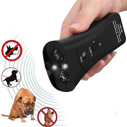 KOBWA Handheld Dog Repellent & Trainer, Dual Channel Ultrasonic Anti Dog Barking Device 3 in 1 Dog Repeller/Training Tool/Stop Barking with LED Flashlight - 100% Pet & Human Safe