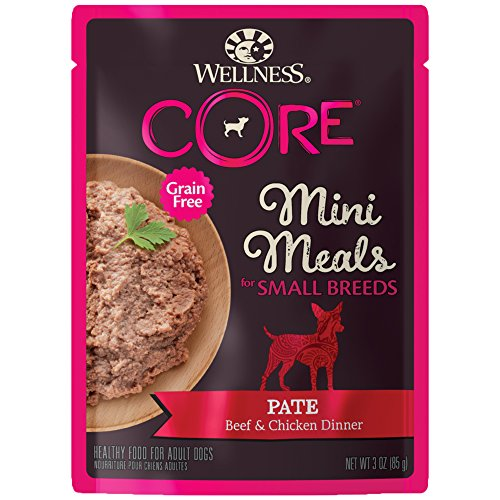 Wellness Core Natural Grain Free Small Breed Mini Meals Wet Dog Food, Pate Beef & Chicken Dinner, 3-Ounce Pouch (Pack Of 12)