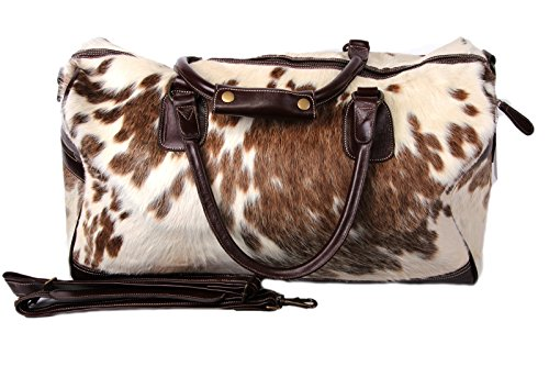 Unisex Men's Women'sBrown and White Cow hide Leather Holdall Bag (Brown and (Cow Hide Bag)