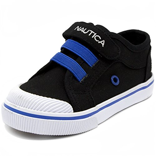 Canvas Replacement Liner - Nautica Kids Calloway Canvas Sneakers Velcro Bungee Straps Casual Shoes-Black-7