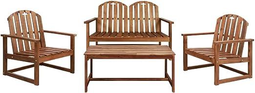 Juego de Muebles de jardín 4 Piezas Madera de Acacia macizaMobiliario Mobiliario de Exterior Conjuntos de mobiliario de Exterior: Amazon.es: Hogar