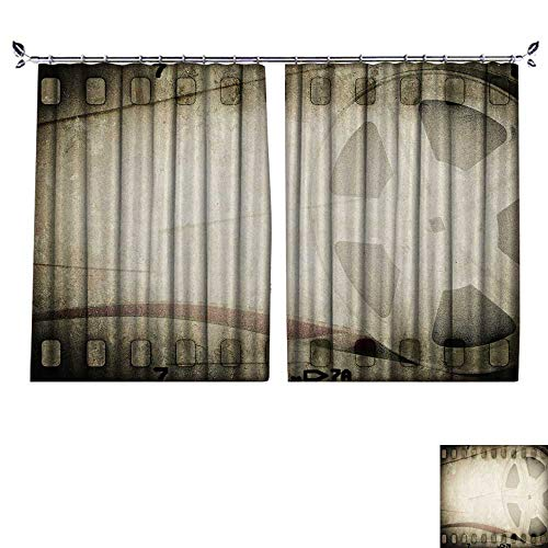 DESPKON Non-humidifying and Breathable Style Grunge Old Motion Picture Film Reel with Film Strip Vintage Background for Elegant Floor-Down Window Decoration W120 x L84