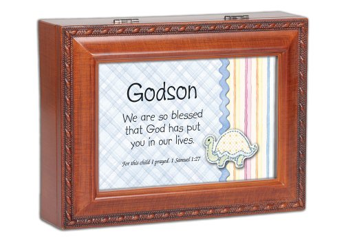 (Cottage Garden Godson We are So Blessed Woodgrain Rope Trim Jewelry Music Box Plays Jesus Loves Me )