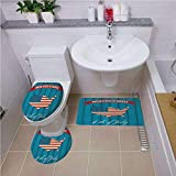iPrint Non Slip Bath Shower Rug,USA Map,United States of America Typography Statue of Liberty Icon Illustration Decorative,Dark Blue Red White,U-Shaped Toilet Mat