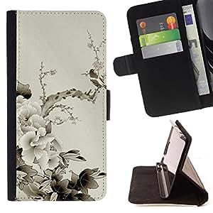 For Apple Iphone 5C - Design Japanese Flowers /Funda de piel cubierta de la carpeta Foilo con cierre magn???¡¯????tico/ - Super Marley Shop -