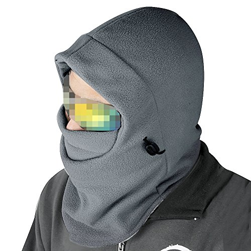 Nsstar Thermal Warm Fleece Full Face Mask Balaclava CS Mask Head and Neck Cover Warmer Windproof Hooded Scraf Hat for Winter Outdoor Sports Cycling Motorcycle Bike Ski Snowboard fishing (Light Gray)