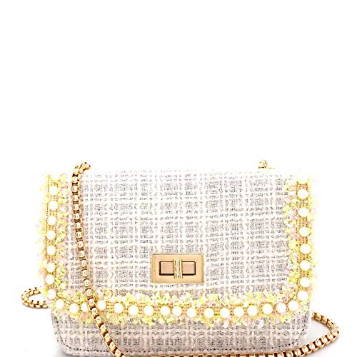 - Pearl Embellished Tweed Turn-Lock Shoulder Bag