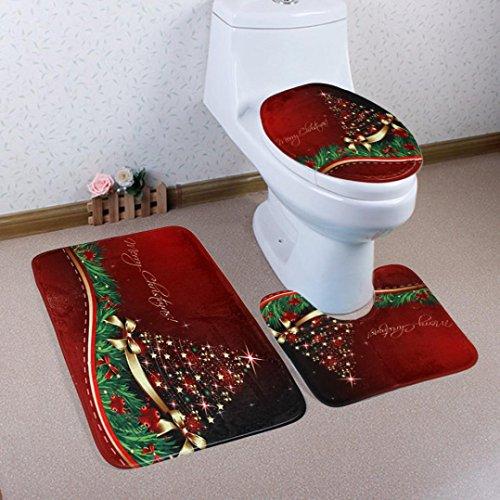 (Elaco Toilet Set Cover Wc Seat Cover Bath Mat Holder Christmas Pedestal Rug + Lid Toilet Cover + Bath Mat (G) )