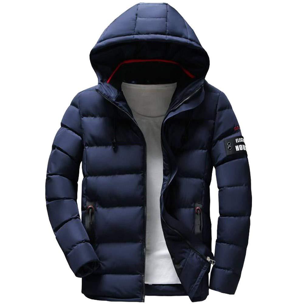 Bokeley Mens Winter Thicken Jacket Warm Double Hooded Cotton Coat
