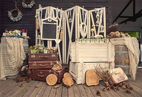 Leyiyi 5x3ft Rustic Barn Wedding Backdrop Vintage Wooden Cottage Honeymoon Travel Suitcase Floral Garland Pine Nuts Wood Pile Photo Background Cowboy Marriage Portrait Studio Prop Vinyl Banner