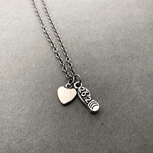 26.2 Heart and Sole Necklace on 18 inch Gunmetal Chain - Pewter 26.2 Shoe Print Charm and Pewter Puffed Heart