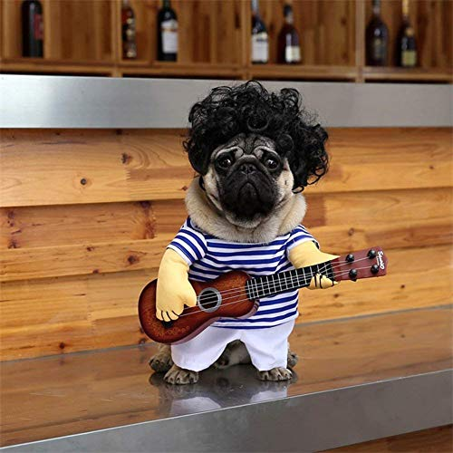 (V.JUST Pet Dog Guitar Costume Halloween Christmas Cosplay Party Funny Outfit Clothes,Does Not Include Wigs,L)