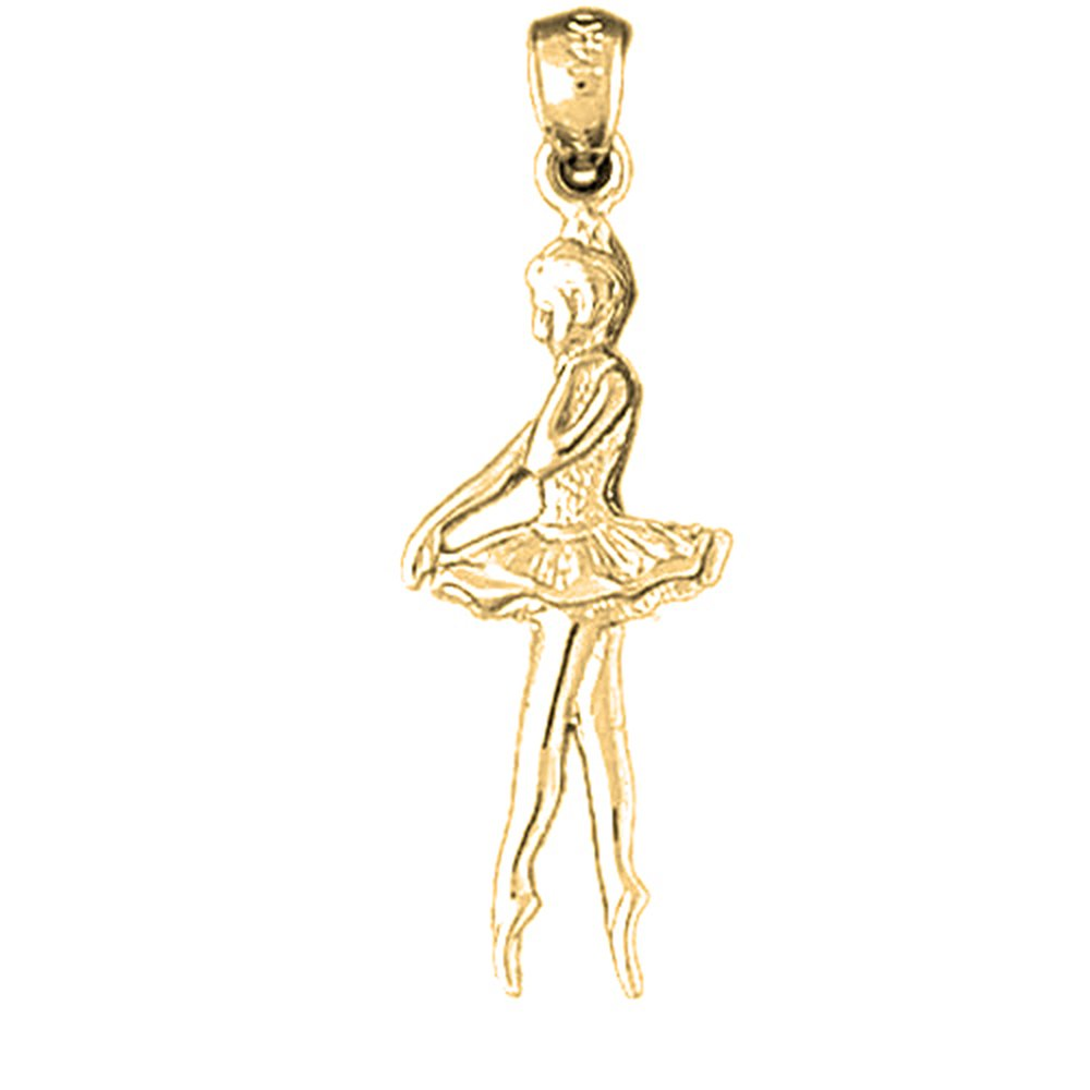 Jewels Obsession Ballerina Shoe Necklace 14K Yellow Gold-plated 925 Silver Ballerina Shoe Pendant with 18 Necklace