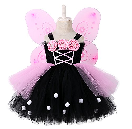 - Tutu Dreams Fairy Costume Baby Girl Pink Black 80s Rock Star Dress Up Birthday Party Halloween (Pink, Small(1-2 Years))