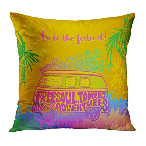 DTTOT Throw Pillow Cover Hippie Vintage Car Mini Van Ornate Love and Music with Hand Written Fonts Doodle Hippy Color Retro 1960S Decorative Pillow Case Home Decor Square 18x18 Inches Pillowcase (Hippy Van)