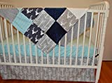 3-Piece Crib Bedding Set Navy Gray Aqua Deer Arrow Herringbone