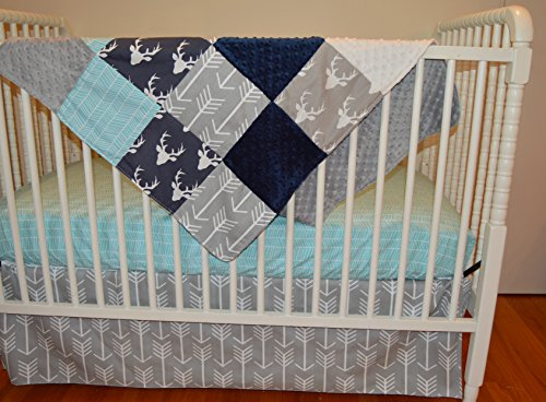 3-Piece Crib Bedding Set Navy Gray Aqua Deer Arrow Herringbone by Soren by Angelique