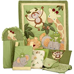 NoJo Jungle Babies Monkey 8 Piece Bedding Set unisex